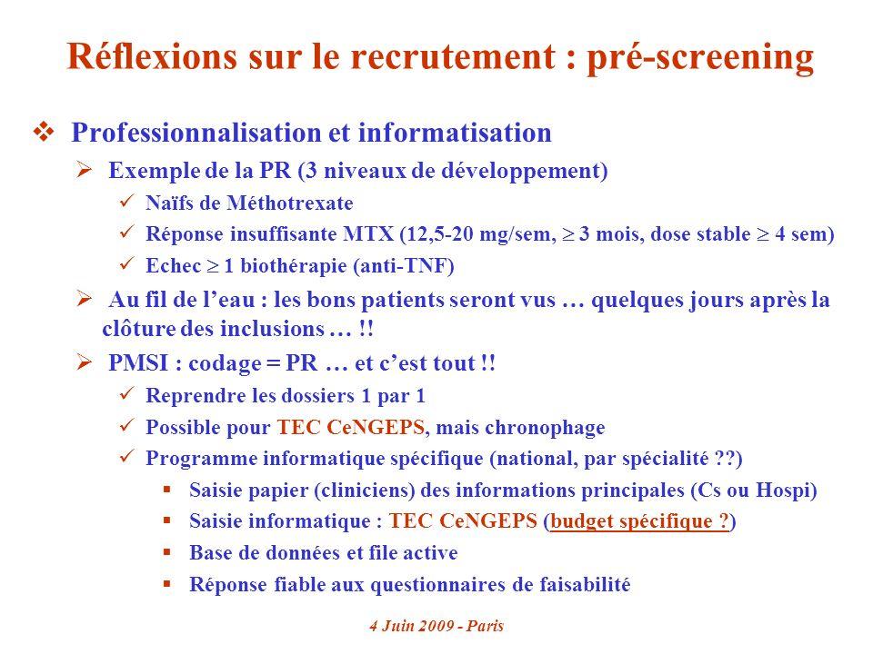 4 Juin 2009 - Paris Réflexions sur le recrutement : pré-screening Professionnalisation et informatisation Exemple de la PR (3 niveaux de développement) Naïfs de Méthotrexate Réponse insuffisante MTX (12,5-20 mg/sem, 3 mois, dose stable 4 sem) Echec 1 biothérapie (anti-TNF) Au fil de leau : les bons patients seront vus … quelques jours après la clôture des inclusions … !.
