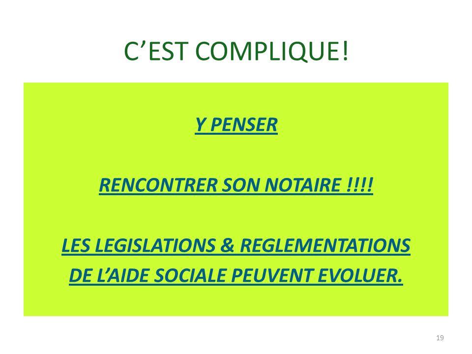 CEST COMPLIQUE! Y PENSER RENCONTRER SON NOTAIRE !!!! LES LEGISLATIONS & REGLEMENTATIONS DE LAIDE SOCIALE PEUVENT EVOLUER. 19