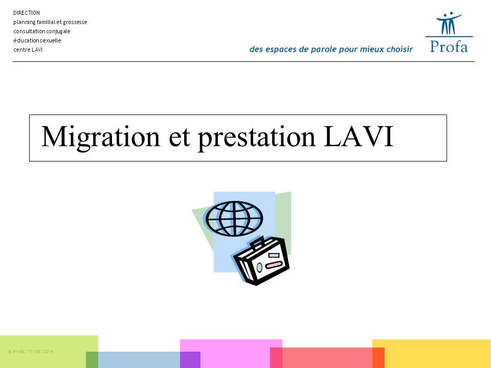 DIRECTION planning familial et grossesse consultation conjugale éducation sexuelle centre LAVI © Profa, 17/05/2014 Migration et prestation LAVI