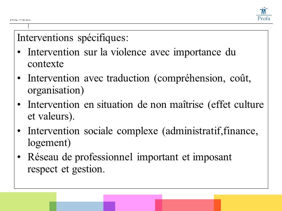 © Profa, 17/05/2014 Interventions spécifiques: Intervention sur la violence avec importance du contexte Intervention avec traduction (compréhension, c