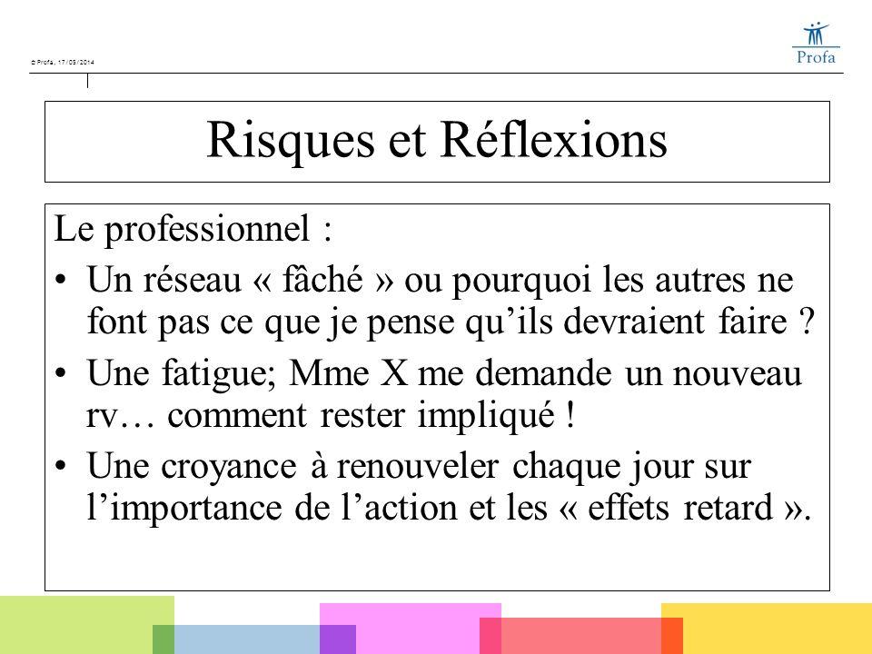 © Profa, 17/05/2014 Risques et Réflexions Le professionnel : Un réseau « fâché » ou pourquoi les autres ne font pas ce que je pense quils devraient fa