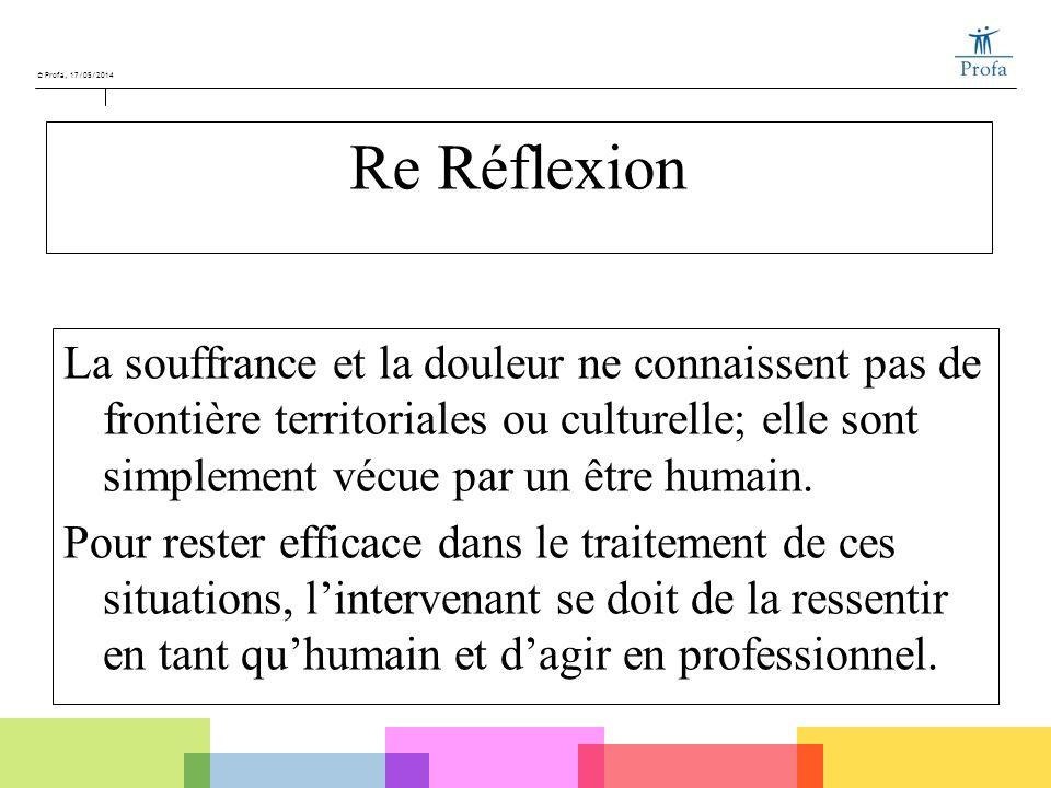 © Profa, 17/05/2014 Re Réflexion La souffrance et la douleur ne connaissent pas de frontière territoriales ou culturelle; elle sont simplement vécue p