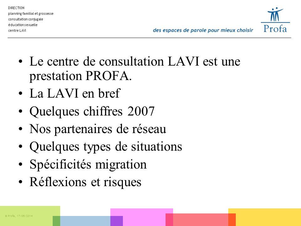 DIRECTION planning familial et grossesse consultation conjugale éducation sexuelle centre LAVI © Profa, 17/05/2014 Le centre de consultation LAVI est