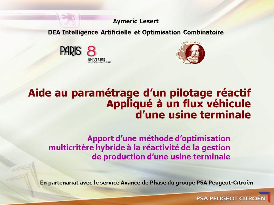 Aide au paramétrage dun pilotage réactif Appliqué à un flux véhicule dune usine terminale Apport dune méthode doptimisation multicritère hybride à la