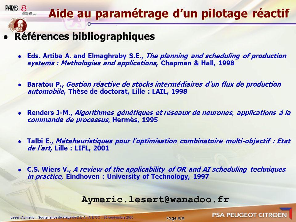 Lesert Aymeric – Soutenance de stage de D.E.A. IA & OC – 26 septembre 2003 Page 8/8 Aide au paramétrage dun pilotage réactif Références bibliographiqu