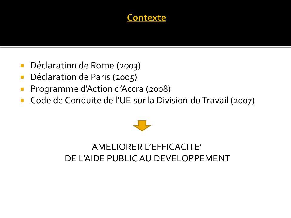 Déclaration de Rome (2003) Déclaration de Paris (2005) Programme dAction dAccra (2008) Code de Conduite de lUE sur la Division du Travail (2007) AMELIORER LEFFICACITE DE LAIDE PUBLIC AU DEVELOPPEMENT