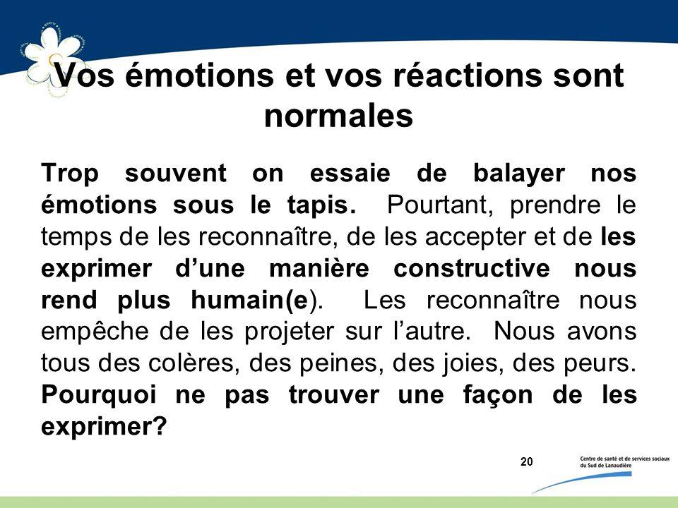 Vos émotions et vos réactions sont normales Trop souvent on essaie de balayer nos émotions sous le tapis. Pourtant, prendre le temps de les reconnaîtr