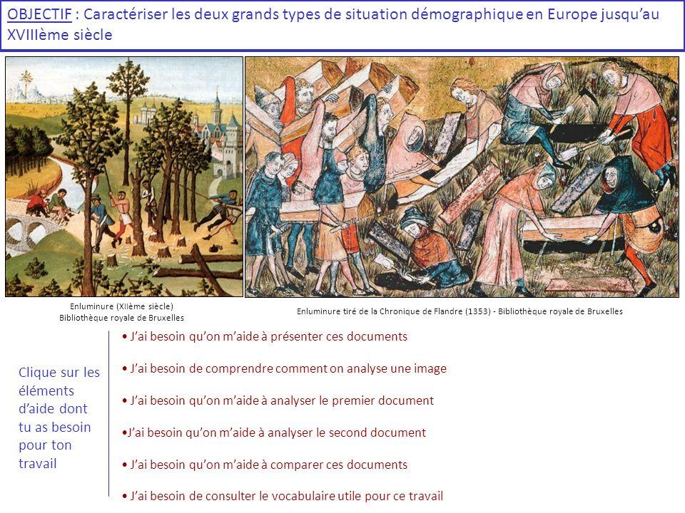 OBJECTIF : Caractériser les deux grands types de situation démographique en Europe jusquau XVIIIème siècle Enluminure (XIIème siècle) Bibliothèque roy