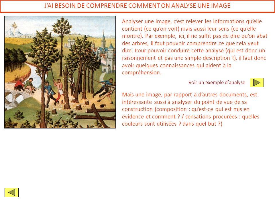 JAI BESOIN DE COMPRENDRE COMMENT ON ANALYSE UNE IMAGE Analyser une image, cest relever les informations quelle contient (ce quon voit) mais aussi leur
