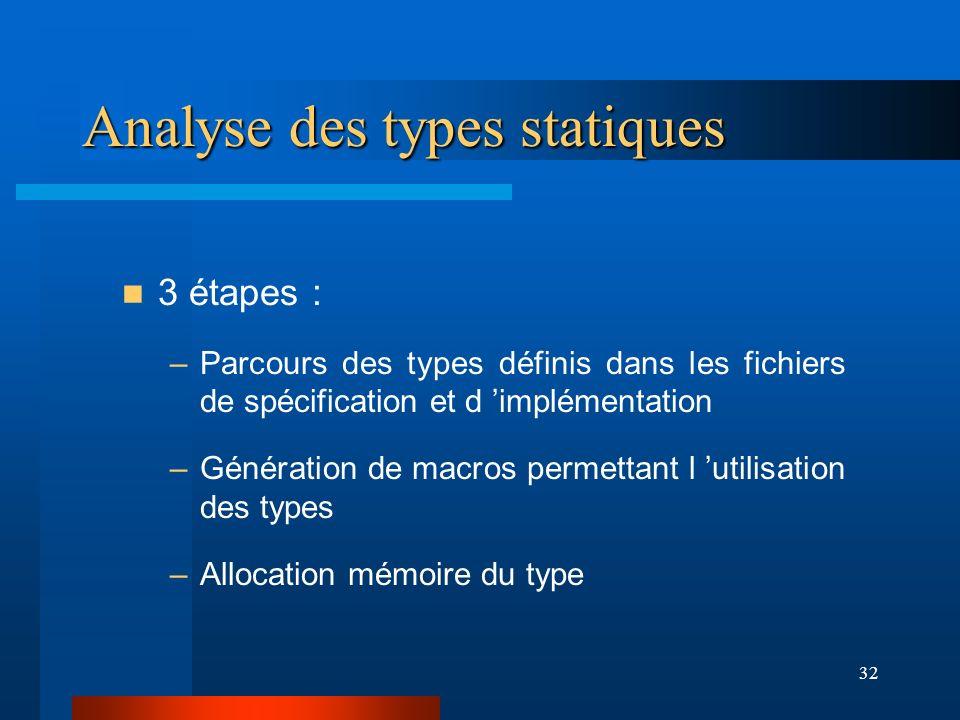 32 Analyse des types statiques 3 étapes : –Parcours des types définis dans les fichiers de spécification et d implémentation –Génération de macros per