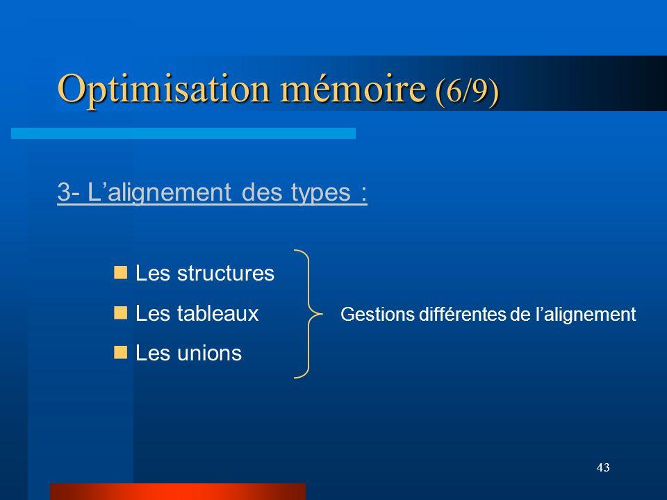 43 Optimisation mémoire (6/9) 3- Lalignement des types : Les structures Les tableaux Les unions Gestions différentes de lalignement