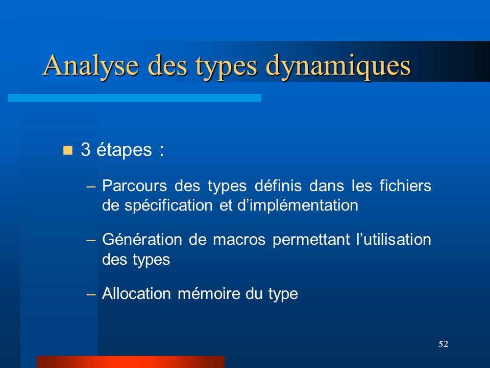 53 Macros des types Tableaux dynamiques #define meta1(ref) ((char *)(ref)+OFFSET) #define types_array(ref,i0) ( (char *) (ref) +*meta1(ref)+i0*4+OFFSET) Type array{ private : opaque(4) [ ]; } types_X.imp Typedef array { } types.idl Analyse des types dynamiques