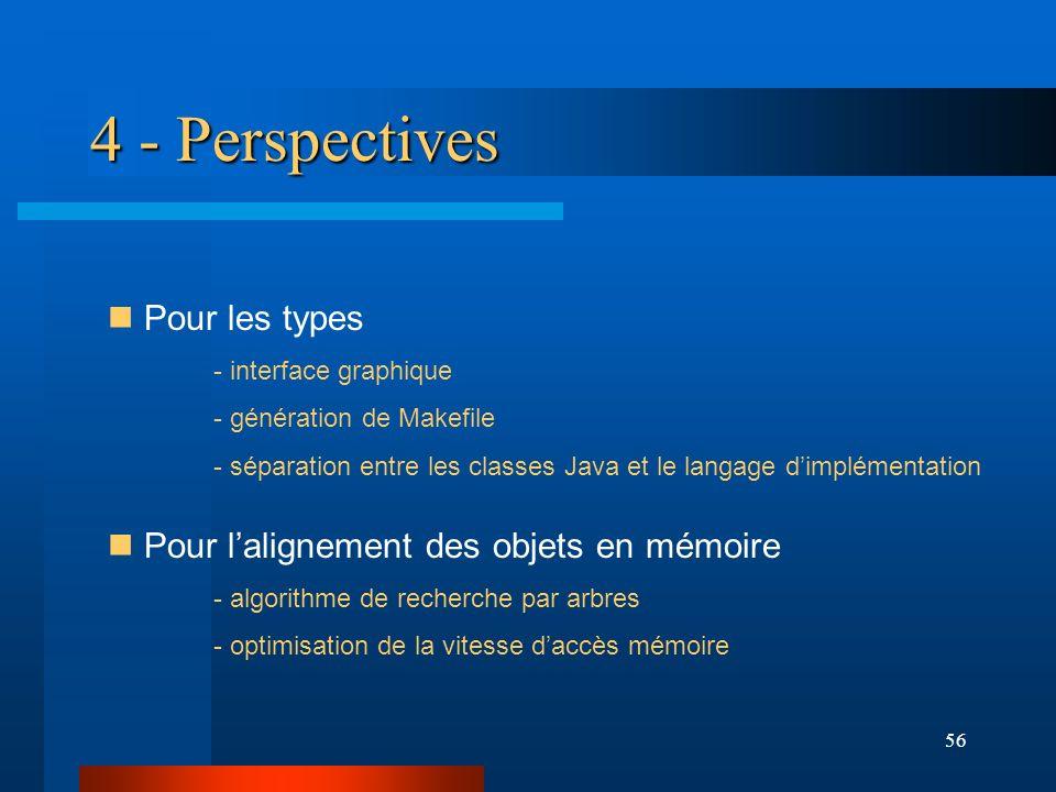56 4 - Perspectives Pour les types - interface graphique - génération de Makefile - séparation entre les classes Java et le langage dimplémentation Po
