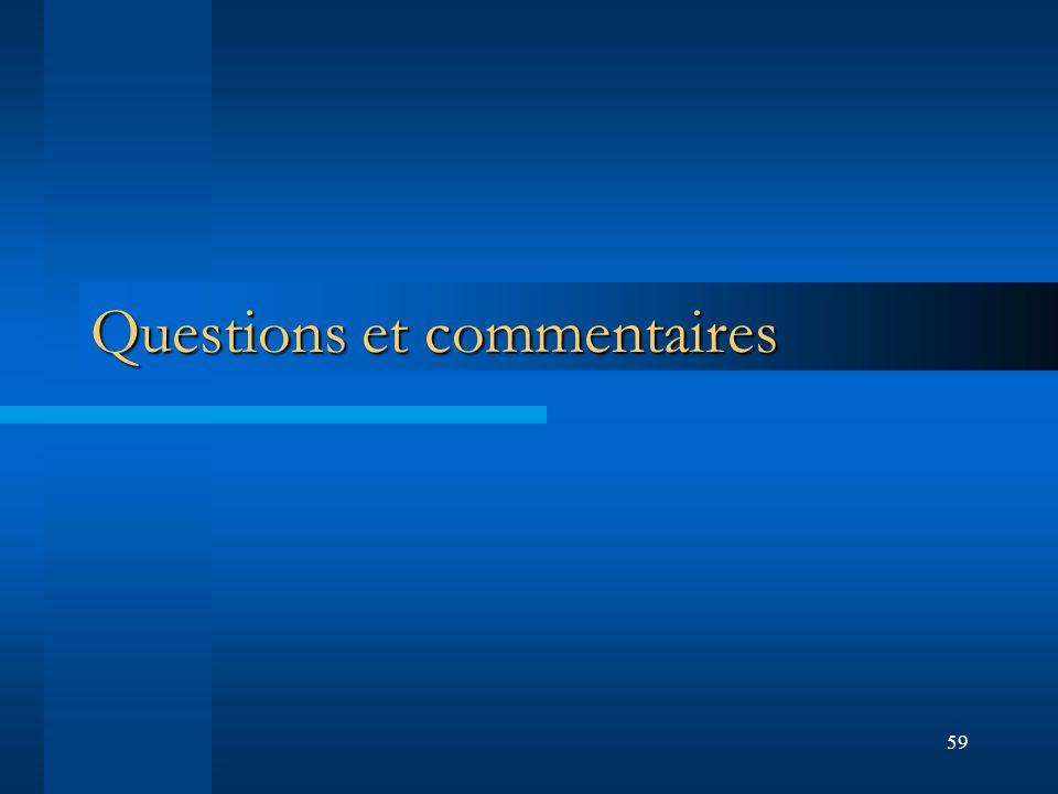 59 Questions et commentaires
