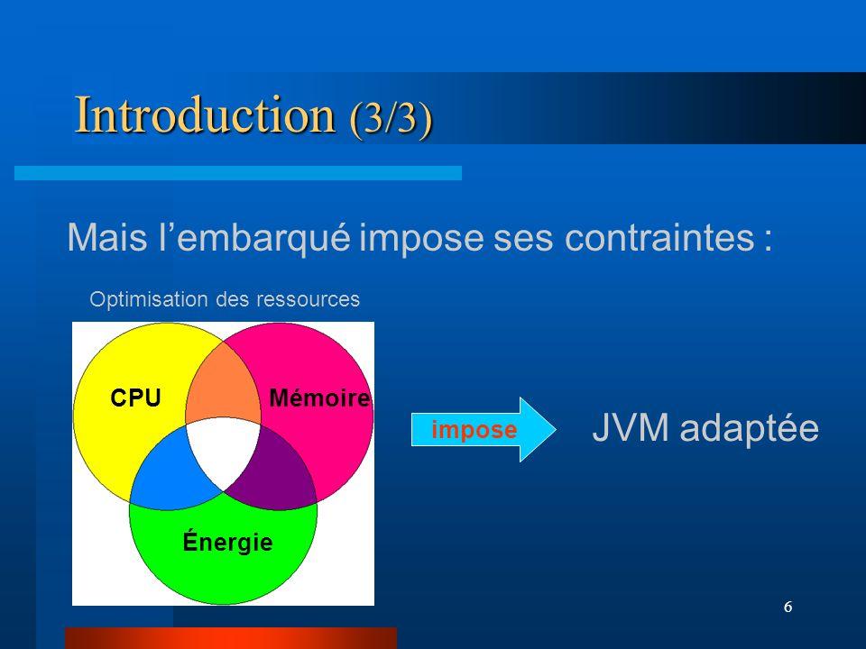 6 Introduction (3/3) Mais lembarqué impose ses contraintes : impose CPUMémoire Énergie Optimisation des ressources JVM adaptée