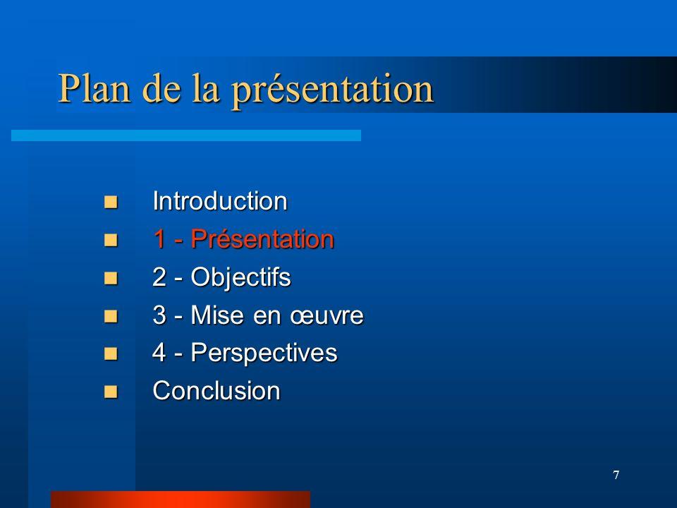 7 Plan de la présentation Introduction Introduction 1 - Présentation 1 - Présentation 2 - Objectifs 2 - Objectifs 3 - Mise en œuvre 3 - Mise en œuvre