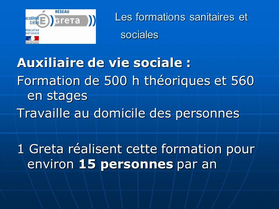 Les formations sanitaires et sociales Auxiliaire de vie sociale : Formation de 500 h théoriques et 560 en stages Travaille au domicile des personnes 1