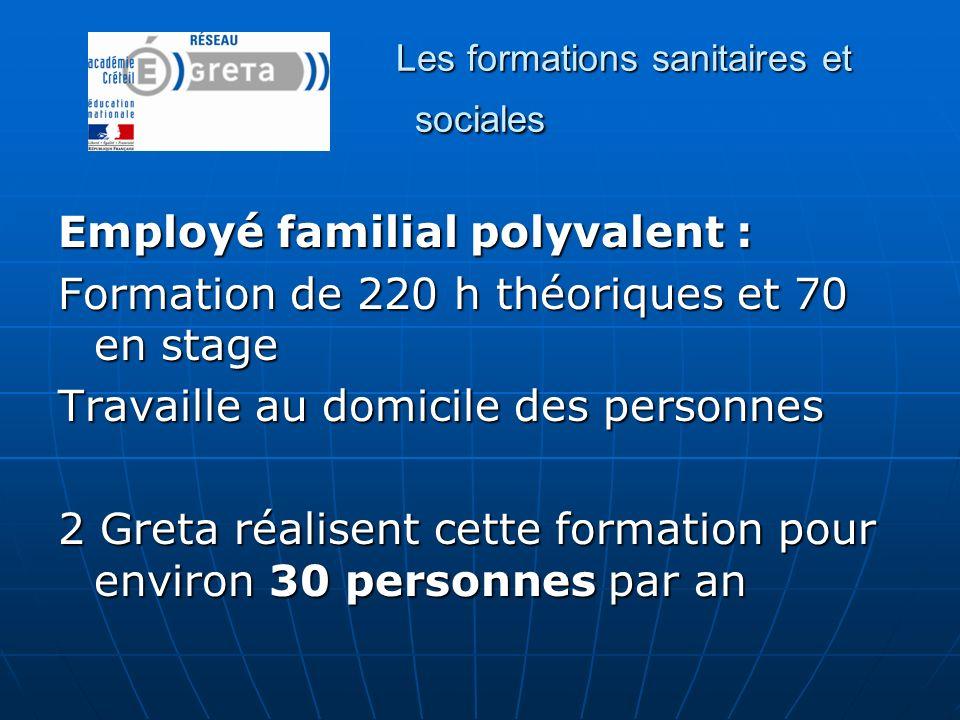 Les formations sanitaires et sociales Employé familial polyvalent : Formation de 220 h théoriques et 70 en stage Travaille au domicile des personnes 2