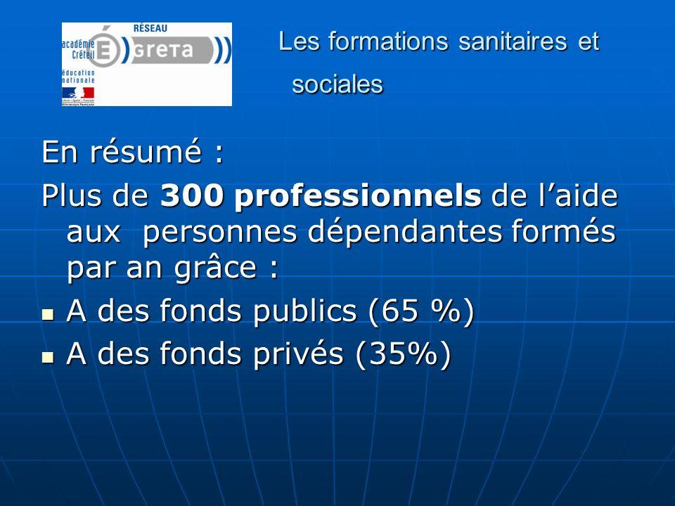 Les formations sanitaires et sociales En résumé : Plus de 300 professionnels de laide aux personnes dépendantes formés par an grâce : A des fonds publ