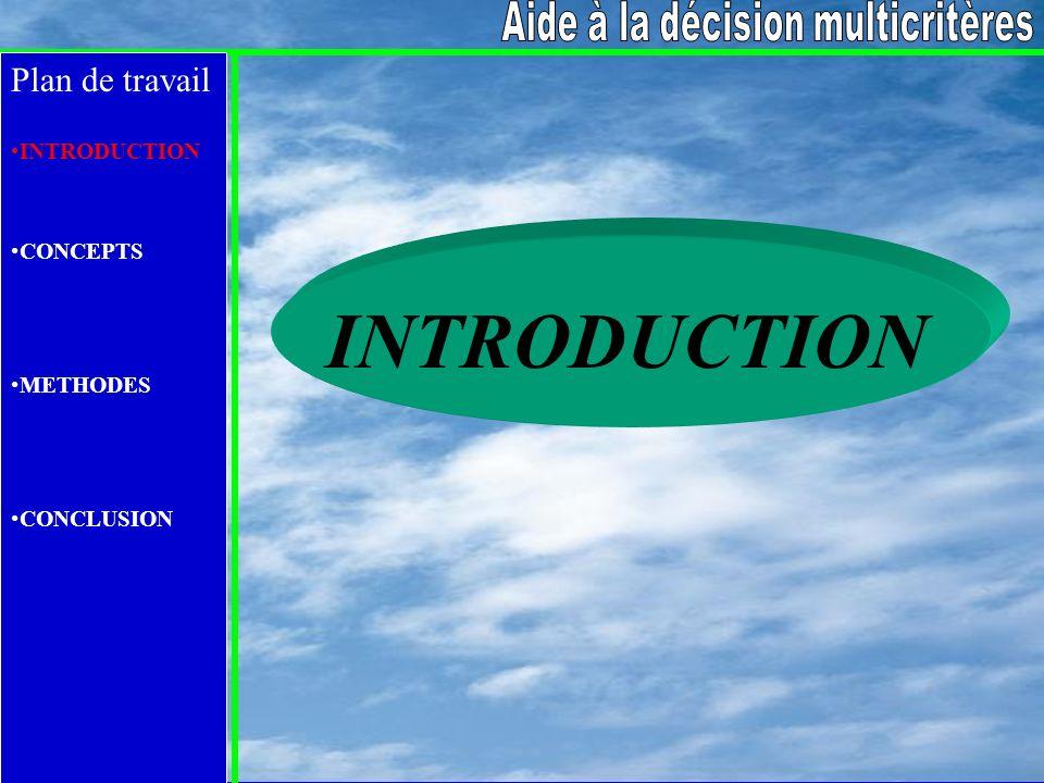 Plan de travail INTRODUCTION CONCEPTS METHODES CONCLUSION Approche du critère unique de synthèse Préférences Fonction Préférence partielles d agrégation globale Approche complète V > D { > j }