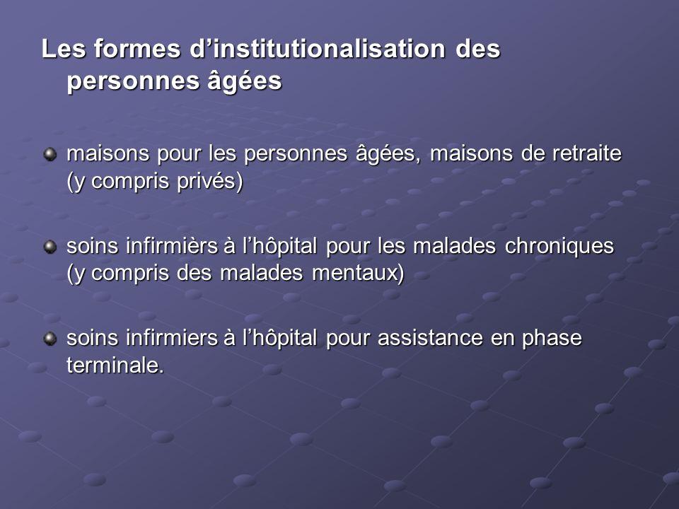 Les formes dinstitutionalisation des personnes âgées maisons pour les personnes âgées, maisons de retraite (y compris privés) soins infirmièrs à lhôpi