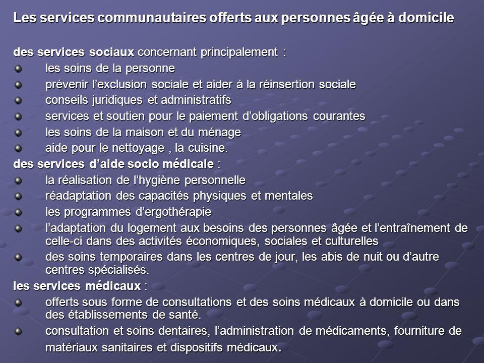 Les services communautaires offerts aux personnes âgée à domicile des services sociaux concernant principalement : les soins de la personne prévenir l
