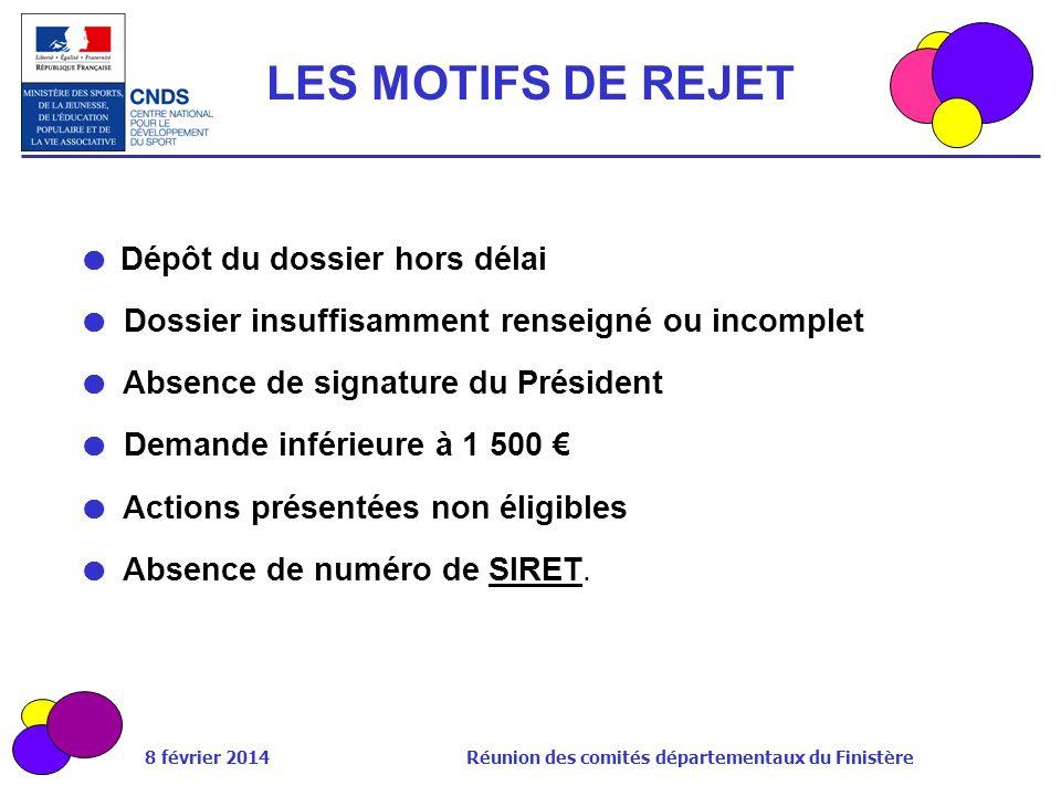 8 février 2014 Réunion des comités départementaux du Finistère LES MOTIFS DE REJET Dépôt du dossier hors délai Dossier insuffisamment renseigné ou inc