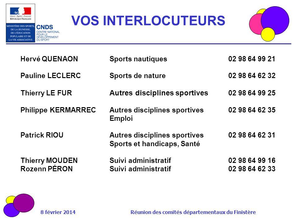 8 février 2014 Réunion des comités départementaux du Finistère Hervé QUENAONSports nautiques02 98 64 99 21 Pauline LECLERCSports de nature02 98 64 62