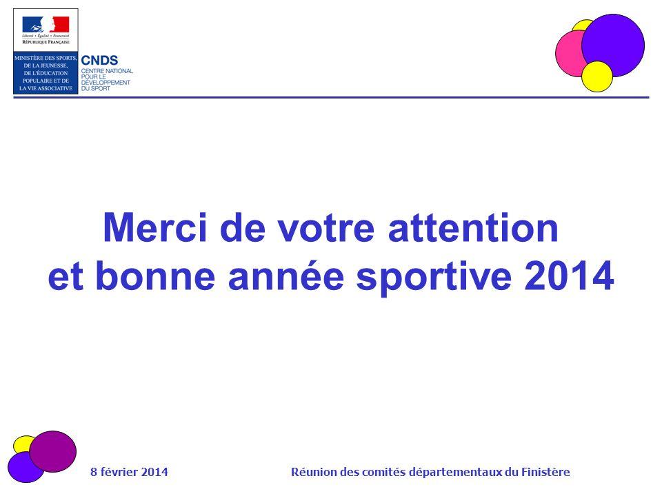 8 février 2014 Réunion des comités départementaux du Finistère Merci de votre attention et bonne année sportive 2014