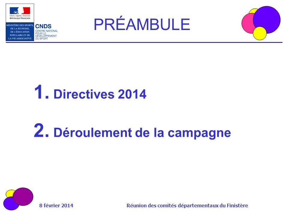 8 février 2014 Réunion des comités départementaux du Finistère PRÉAMBULE 1. Directives 2014 2. Déroulement de la campagne