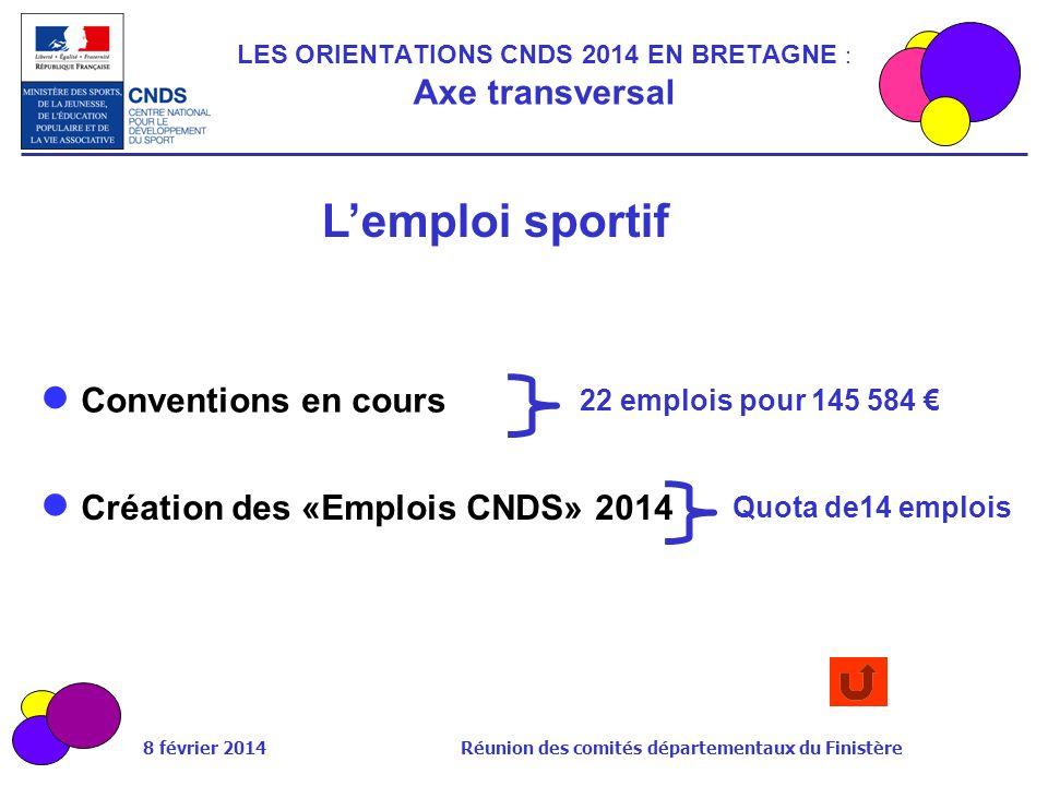 8 février 2014 Réunion des comités départementaux du Finistère LES ORIENTATIONS CNDS 2014 EN BRETAGNE : Axe transversal 22 emplois pour 145 584 Conven
