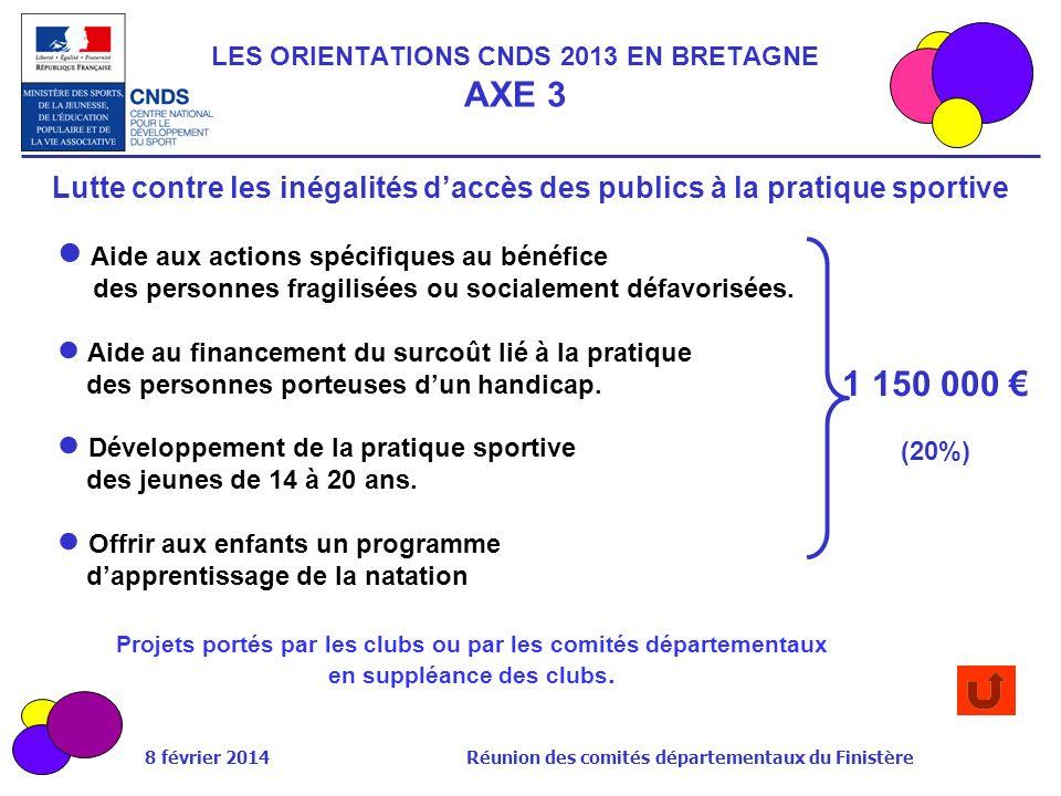 8 février 2014 Réunion des comités départementaux du Finistère Aide aux actions spécifiques au bénéfice des personnes fragilisées ou socialement défav
