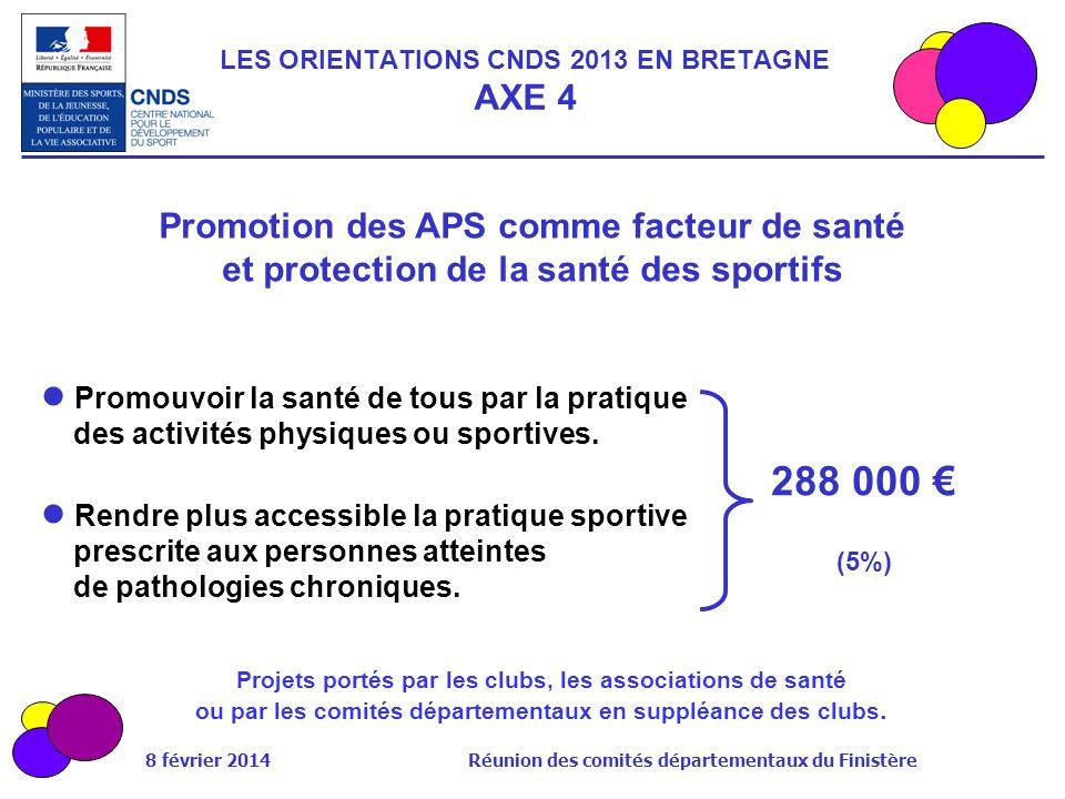 8 février 2014 Réunion des comités départementaux du Finistère Promotion des APS comme facteur de santé et protection de la santé des sportifs Promouv
