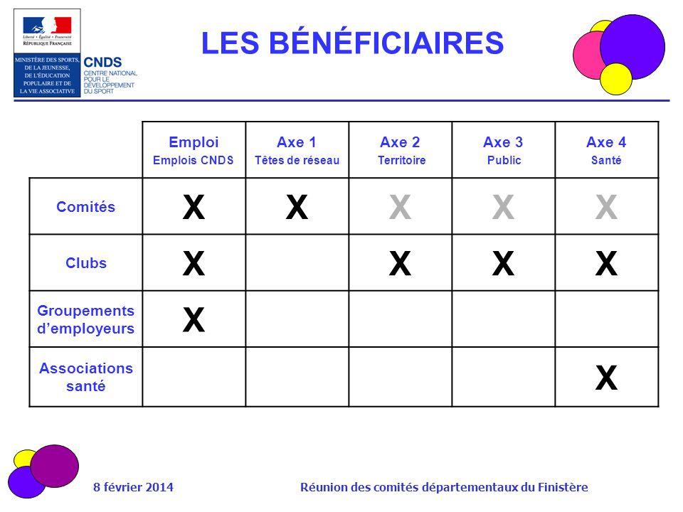 8 février 2014 Réunion des comités départementaux du Finistère LES BÉNÉFICIAIRES Emploi Emplois CNDS Axe 1 Têtes de réseau Axe 2 Territoire Axe 3 Publ
