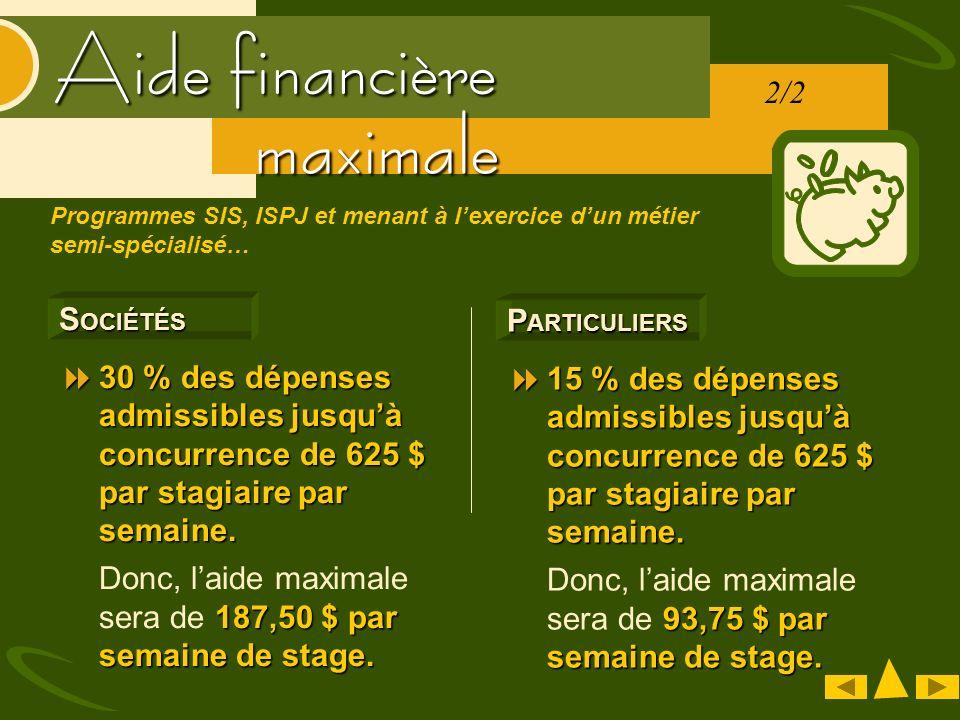 Aide financière S OCIÉTÉS 30 % des dépenses admissibles jusquà concurrence de 625 $ par stagiaire par semaine. 30 % des dépenses admissibles jusquà co