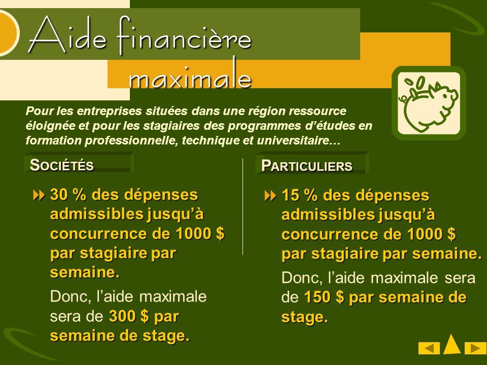 Aide financière S OCIÉTÉS 30 % des dépenses admissibles jusquà concurrence de 1000 $ par stagiaire par semaine.