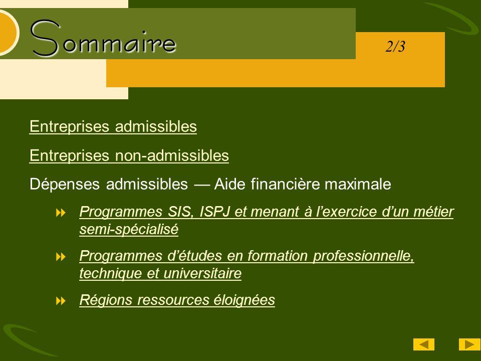 Sommaire Entreprises admissibles Entreprises non-admissibles Dépenses admissibles Aide financière maximale Programmes SIS, ISPJ et menant à lexercice