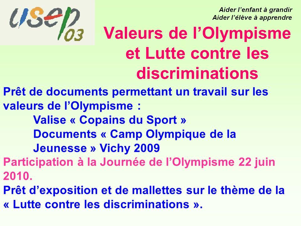 Valeurs de lOlympisme et Lutte contre les discriminations Prêt de documents permettant un travail sur les valeurs de lOlympisme : Valise « Copains du Sport » Documents « Camp Olympique de la Jeunesse » Vichy 2009 Participation à la Journée de lOlympisme 22 juin 2010.