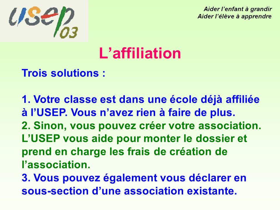 Laffiliation Trois solutions : 1. Votre classe est dans une école déjà affiliée à lUSEP.