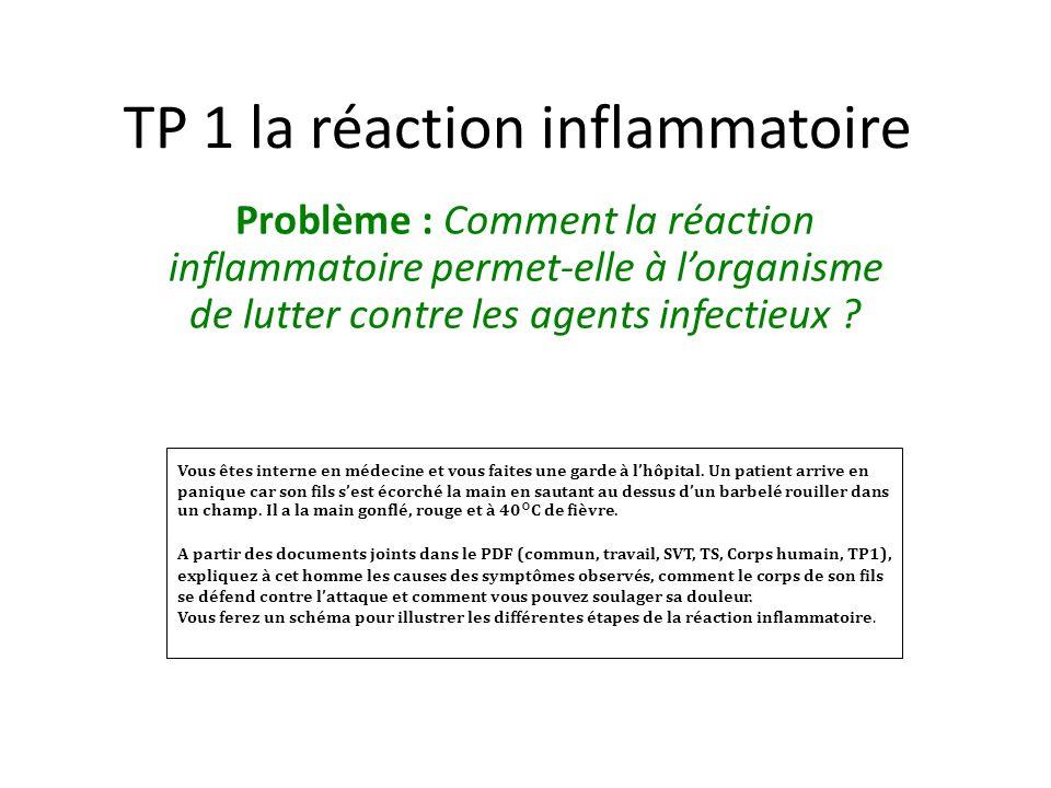 TP 1 la réaction inflammatoire Problème : Comment la réaction inflammatoire permet-elle à lorganisme de lutter contre les agents infectieux ? Vous ête