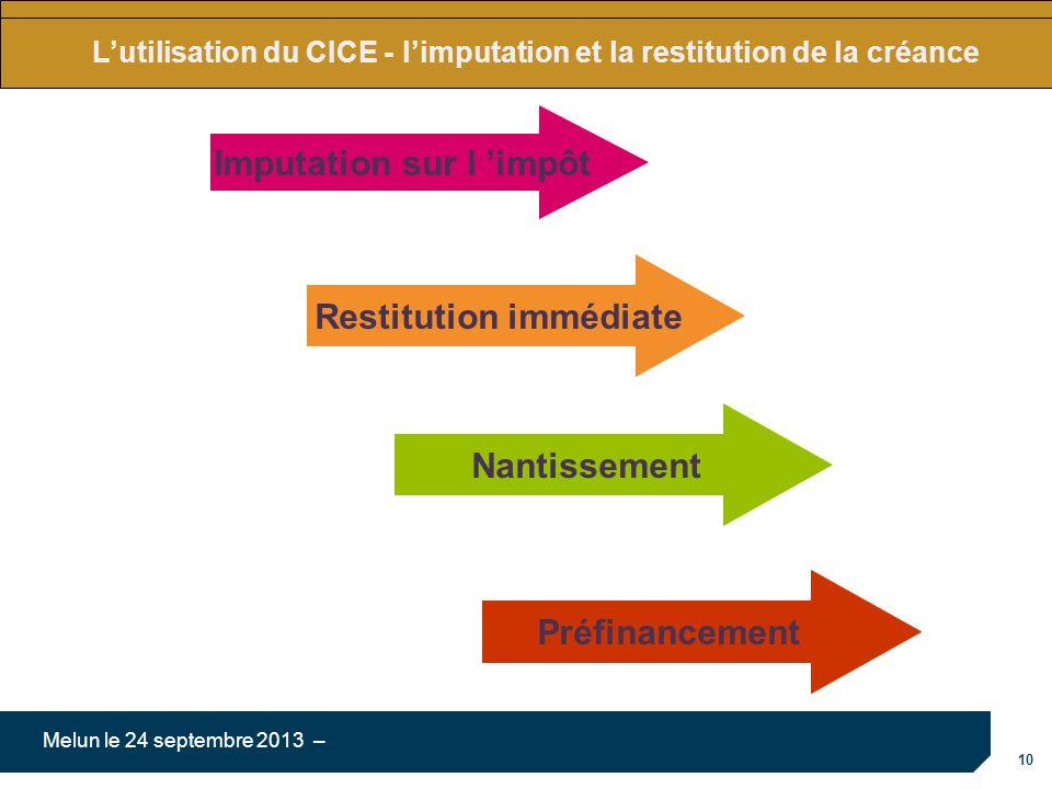 10 Melun le 24 septembre 2013 – Lutilisation du CICE - limputation et la restitution de la créance Imputation sur l impôt Restitution immédiate Nantis