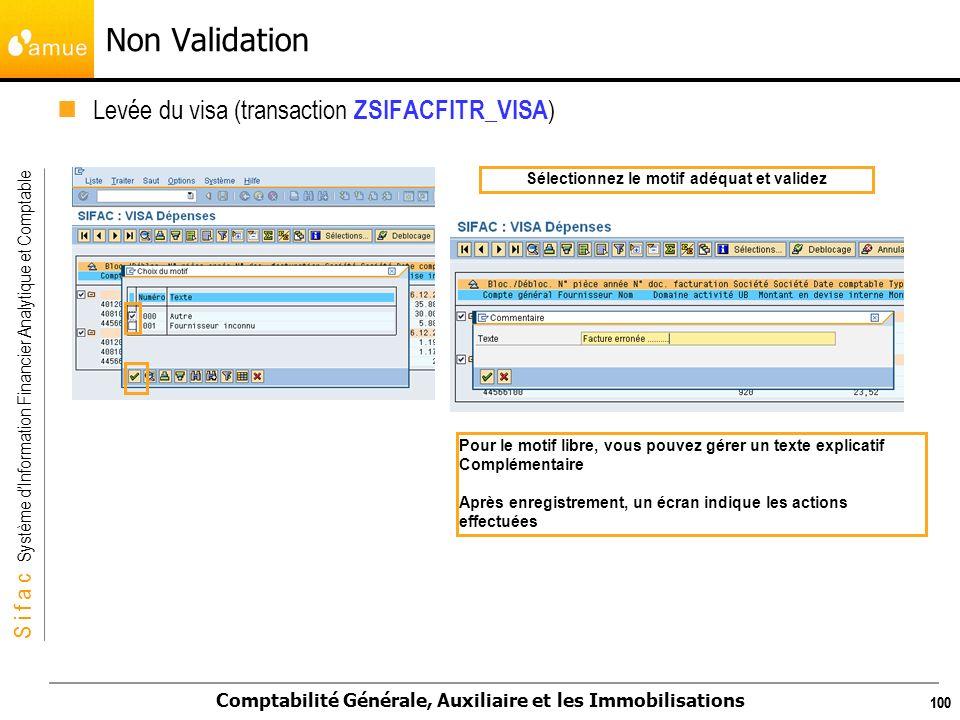 S i f a c Système dInformation Financier Analytique et Comptable Comptabilité Générale, Auxiliaire et les Immobilisations 100 Levée du visa (transacti