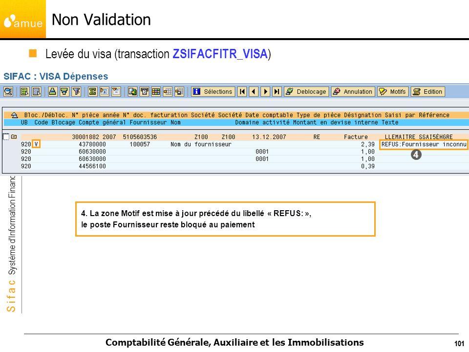 S i f a c Système dInformation Financier Analytique et Comptable Comptabilité Générale, Auxiliaire et les Immobilisations 101 Levée du visa (transacti