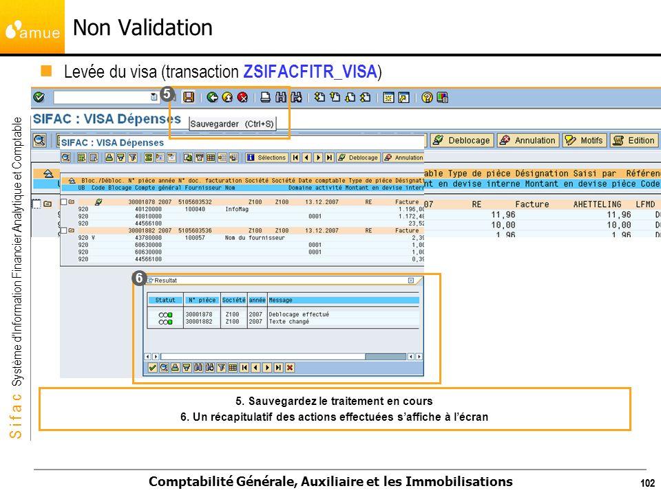 S i f a c Système dInformation Financier Analytique et Comptable Comptabilité Générale, Auxiliaire et les Immobilisations 102 Levée du visa (transacti