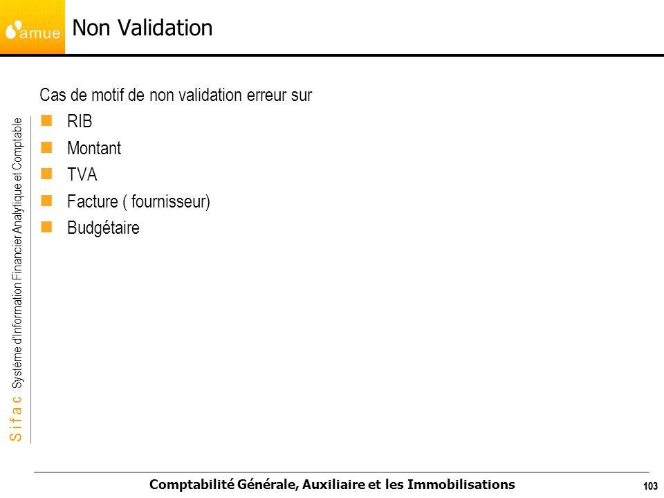 S i f a c Système dInformation Financier Analytique et Comptable Comptabilité Générale, Auxiliaire et les Immobilisations 103 Cas de motif de non vali