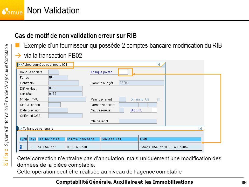 S i f a c Système dInformation Financier Analytique et Comptable Comptabilité Générale, Auxiliaire et les Immobilisations 104 Cas de motif de non vali