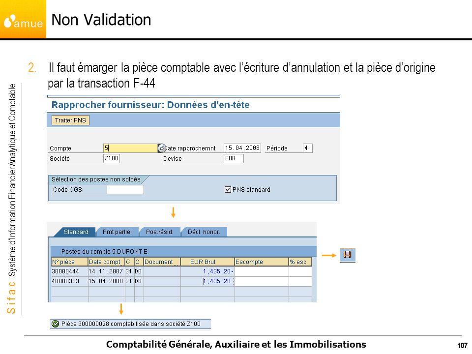 S i f a c Système dInformation Financier Analytique et Comptable Comptabilité Générale, Auxiliaire et les Immobilisations 107 Non Validation 2. Il fau