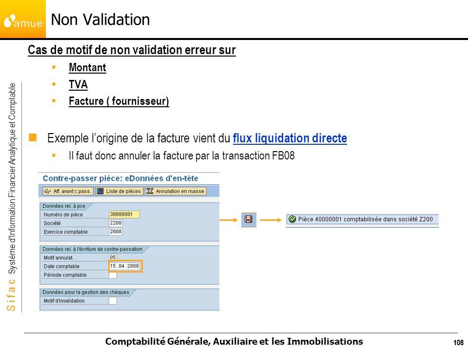 S i f a c Système dInformation Financier Analytique et Comptable Comptabilité Générale, Auxiliaire et les Immobilisations 108 Non Validation Cas de mo