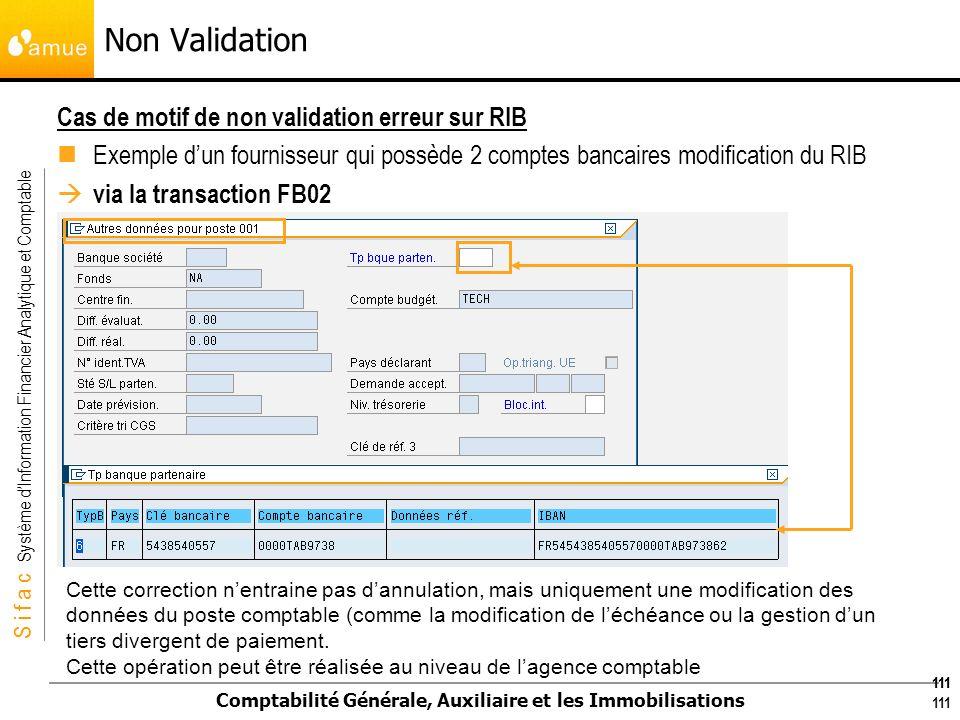 S i f a c Système dInformation Financier Analytique et Comptable Comptabilité Générale, Auxiliaire et les Immobilisations 111 Cas de motif de non vali