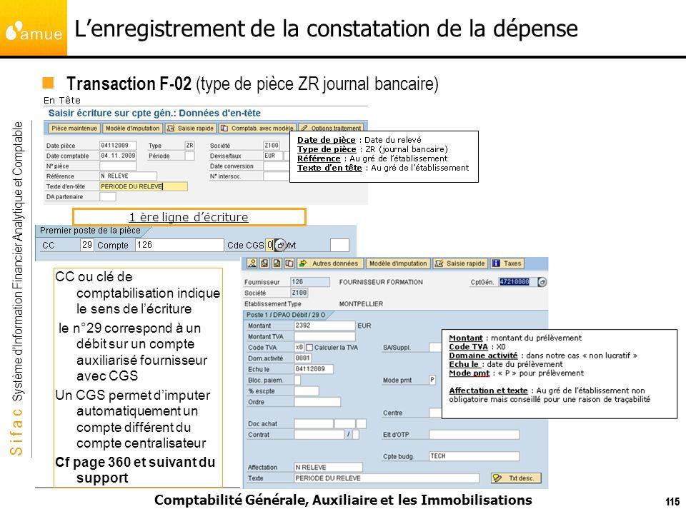 S i f a c Système dInformation Financier Analytique et Comptable Comptabilité Générale, Auxiliaire et les Immobilisations 115 Lenregistrement de la co